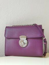 COCCINELLE Leder Tasche Saffiano-Optik Bearbeitung Minibag in Lila-Bordo Neu