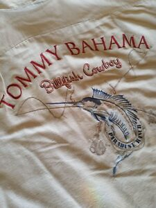 Vtg Tommy Bahama men's XL Tan BILLFISH COWBOY Embroidered Silk Camp Shirt