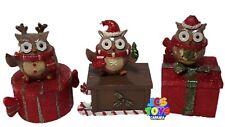 Set of 3 Novelty Xmas Christmas Nativity Owl Trinket Storage Jewellery Lolly Box