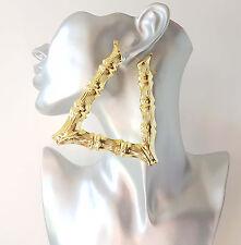 Splendido ENORME tono oro a forma di triangolo Orecchini cerchi creolo Bamboo - #b2
