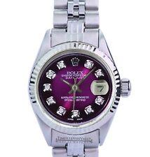 Rolex Lady Datejust Purple Diamond Dial  Fluted Bezel 26mm Folded Band Watch