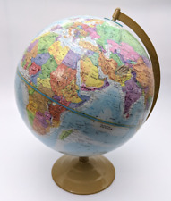 "Globemaster Student World Globe 12"" Political Color Embossed Terrain Metal Base"