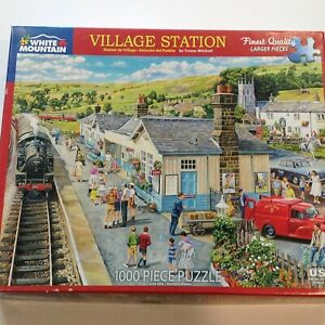 """White Mountain 1000 Piece Puzzle """"Village Station"""" by Trevor Mitchell Made in US"""