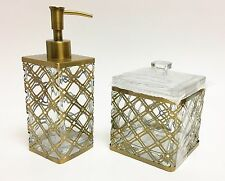 NEW 2 PC SET GLASS+ANTIQUE GOLD,BRASS METAL FRAME EXTERIOR SOAP DISPENSER+JAR