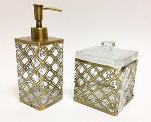 NEW 2 PC SET GLASS+ANTIQUE GOLD,BRASS METAL FRAME EXTERIOR SOAP DISPENSER+JAR