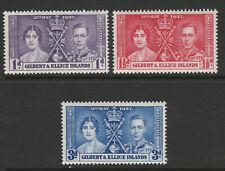 Gilbert and Ellice Is. 1937 Coronation set SG 40-42 Mnh.
