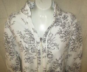 CAROLE HOCHMAN~SMALL~Grey Toile Diamond Quilted Zip Front Long Sleeve Robe