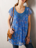 New Blancheporte BLUE Floral Print Crochet Trim Pintuck Top - Size 16 to 24