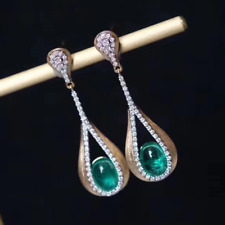 18K Yellow Gold Natural Diamond Green Oval Cabochon Emerald Teardrop Earrings