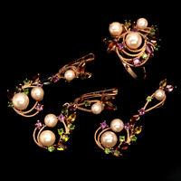 Tourmaline Rhodolite Gems Pearl Cz 925 Sterling Silver Ring Pendant Earrings