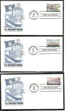 US SC # 4548-4551 US Merchan Marine FDC. 5 Covers set . Artcraft Cachet