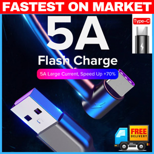 ⚡️ 5A 1m 2m 3m USB Type C Fast Charging Cable 90 Degree USB C Cable Samsung S10