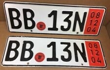 PAIR DRESDEN Red Export German License Plates B.B. 13N  Dec.08,2004