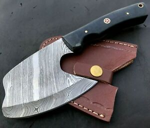 Handmade Axe Damascus Steel Viking Axe-Camping-Outdoors-Leather Sheath-MD154