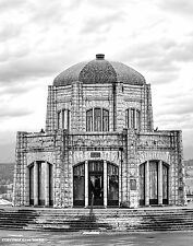 "* Vista House at Crown Point, Oregon; 8X10"" Fine Art Black and White Photograph"