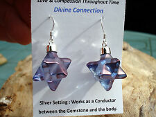 Tazanite-Lavender Aura Merkaba-Star Of David-DoubleTetrahedron Earrings