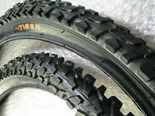 "2 x TIGER 26"" Strong MTB MOUNTAIN BIKE TYRES 26 x 1.95 Pair Knobbly Grip Tiger"