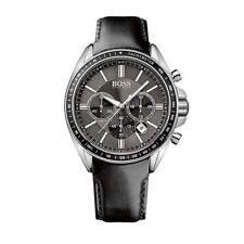 BRAND NEW HUGO BOSS BLACK DIAL CHRONOGRAPH BLACK LEATHER MEN WATCH HB1513085