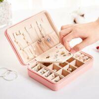 Multi Layer PU Leather Necklace Ring Zip Storage Jewel Gift Case Box Organizer