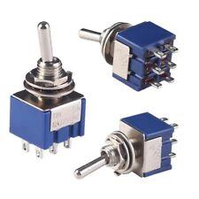 5PCS Interruptor Doble Polo De Doble Tirar Encendido/Apagado/en 3 posición 6 terminales de aire acondicionado Rosca 125V 6A 6mm