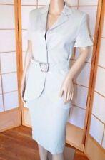 Superb Akris Pale Light Green Cotton-Silk Short Sleeve Blazer Dress Skirt Suit 8