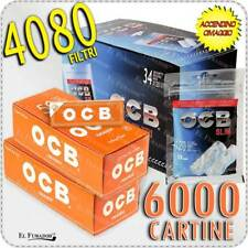 6000 Cartine OCB ORANGE CORTE ARANCIONI + 4080 Filtri OCB SLIM 6mm BOX 34 BUSTE