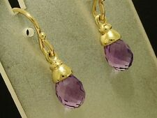 E110 - Genuine Solid 9ct Yellow Gold NATURAL Amethyst Briolette Drop Earrings