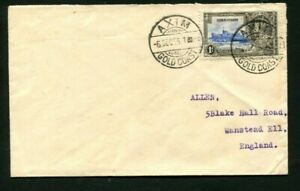 1935 Silver Jubilee Gold Coast 1d on a correct rate cover to GB AXIM cancel