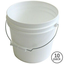 10-Pack 2 Gallon Plastic Pails Heavy Duty White Paint Buckets with Metal Handle