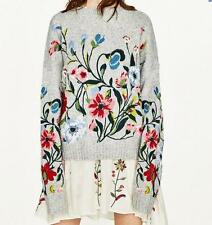 women Floral Embroidered Softly Wool Blend gery sweater Jumper Sweater Cardigans