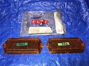 1972 Fiat Spider RIGHT and LEFT Corner Marker Light Side Lamp Parking light OEM