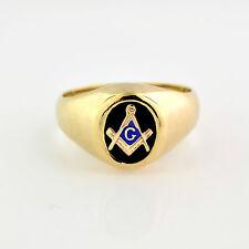 NEW Masonic Ring 10K Solid Gold Master Mason Freemason Masonry Onyx