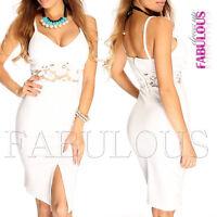 New Padded Crochet Summer Dress Front Split Slit Size 6 8 10 12 XS S M L