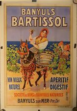 Rare  Affiche Ancienne BANYULS BARTISSOL Pyrenees orientales par DELLEPIANNE