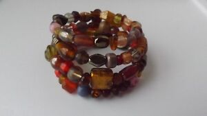Handcrafted One Size Multi-Colored Beaded Wrap Bracelet-Gold Plated Memory Wire