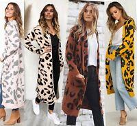 Womens Long Leopard Cardigan Wool Knitted Jumper Sweater Midi Trench Coat Jacket