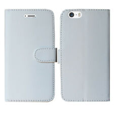 Magnetic Leather Flip Book Folio Case Cover for iPhone 5 5c 5s Screen Guard Plain White I Phone 6