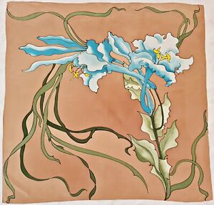 """SCARF VINTAGE HAND PAINTED FLORAL ART BEIGE BLUE GREEN SILK 35"""" SQUARE"""