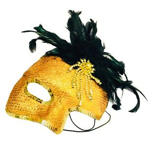 NEW party mask half face mask fun gold feather mask fancy dress only 1 left