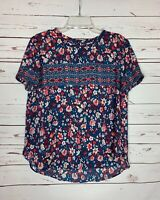 LOFT Women's M Medium Blue Pink Floral Short Sleeve Spring Summer Top Blouse