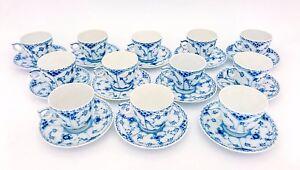 12 Cups & Saucers #719 - Blue Fluted Royal Copenhagen - Half Lace - 1st Quality