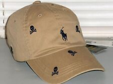 POLO RALPH LAUREN Men's Chino Baseball Cap Hat, All Over Skull Crossbones, KHAKI