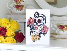 Elvis día de los Muertos Azúcar Calavera roackabilly Tatuaje en Blanco Tarjeta De Cumpleaños