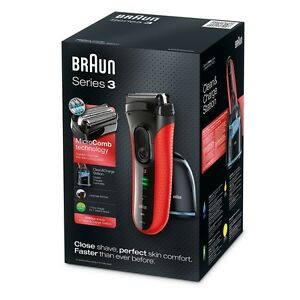 Braun Series3 3050cc Clean&Charge System Men's Wet&dry Electric Shaver Red
