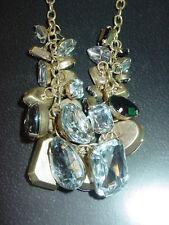 "Lane Bryant brand 18"" clear smokey rhinestone cluster goldtone necklace set-$45."
