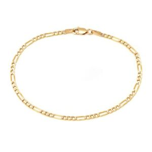 14K Yellow Gold 2.5mm Figaro Link Chain Anklet -10: inch- Made In Italy