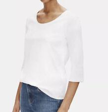 $78 EILEEN FISHER White Organic Cotton 3/4 Sleeve U Neck Tee Size 3X