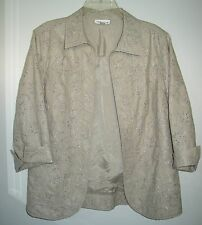M ~ coldwater creek  ~ beige eyelet lace lightweight jacket ~ lined ~ M