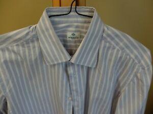 BORRELLI Dress Shirt 16/41 Modified Spread, White w/ Navy & Dk Red, SUPERB