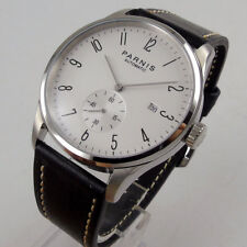 42mm parnis white dial date window leather seagull 1731 automatic mens watch 983